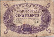Martinique 5 Francs Cabasson, Violet - 1901 (1934) Série U.277