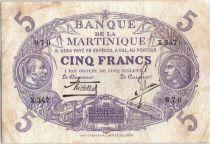 Martinique 5 Francs Cabasson, Violet - 1901 (1934) Série X.347