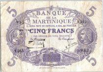 Martinique 5 Francs Cabasson, Violet - 1901 (1934) Série Y.253