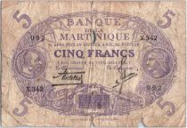 Martinique 5 Francs Cabasson, Violet - 1901 (1946) Série X.342