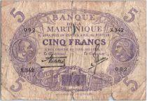 Martinique 5 Francs Cabasson, Violet - 1901 (1946) Série X.342