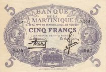 Martinique 5 Francs Cabasson, Violet - 1934 Série T.349
