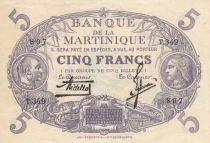 Martinique 5 Francs Cabasson, Violet - 1934 Série T.349