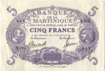 Martinique 5 Francs Cabasson, Violet - 1945 Série Q.362