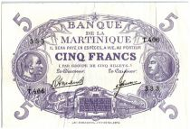 Martinique 5 Francs Cabasson, Violet - 1946 - T406