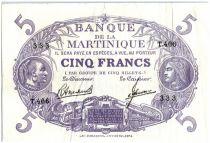 Martinique 5 Francs Cabasson, Violet - 1946 - T406