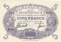 Martinique 5 Francs Cabasson, Violet - 1946 Série W.374