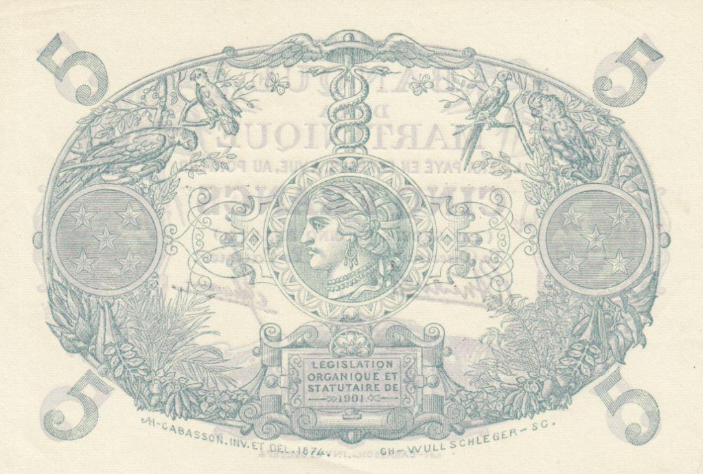 Martinique 5 Francs Cabasson, Violet - 1946 Série W.374