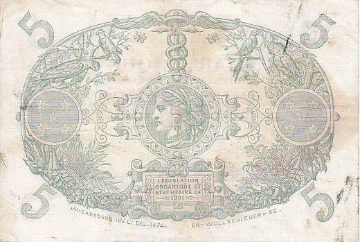 Martinique 5 Francs Cabasson, Violet