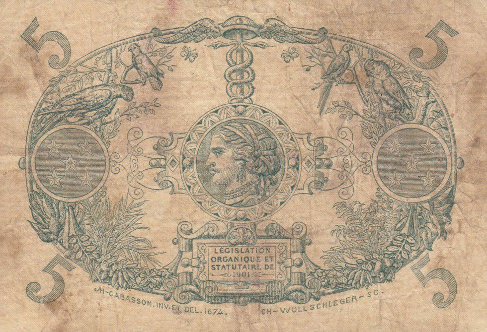 Martinique 5 Francs Cabasson rouge - 1903 Série U.48
