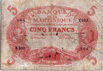 Martinique 5 Francs Cabasson rouge type 1901 (1932) Série X.203