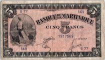 Martinique 5 Francs Liberté - 1942 (1944) - Série S.77
