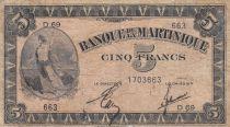 Martinique 5 Francs Marianne 1942 - Liberté - Série D69