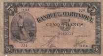 Martinique 5 Francs Marianne 1942 - Liberté - Série H64
