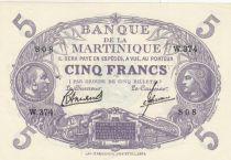 Martinique 5 Francs Purple - 1946 Serial W.374 - P.6