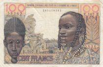 Mauritania 100 Francs mask 1961 - Mauritania - Serial E.107