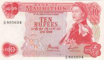 Mauritius 10 Rupees Elizabeth II - Serial A.38 - UNC - P.31c