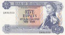 Mauritius 5 Rupees Elisabeth II - Serial A.36 - UNC - P.30c