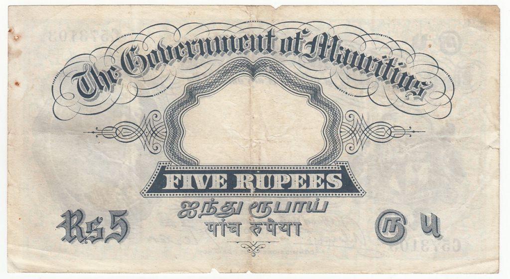 Mauritius 5 Rupees Georges V - 1930 Serial C - P.20