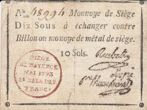 Mayence 10 Sols Black underprint on ivory paper - Red seal - May 1793