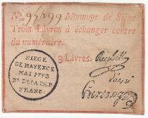 Mayence 3 Livres Red - Black seal - May 1793