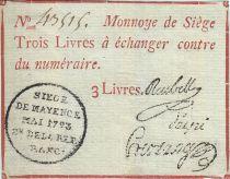 Mayence 3 Livres Rouge - Tampon noir - Mai 1793 N°43515