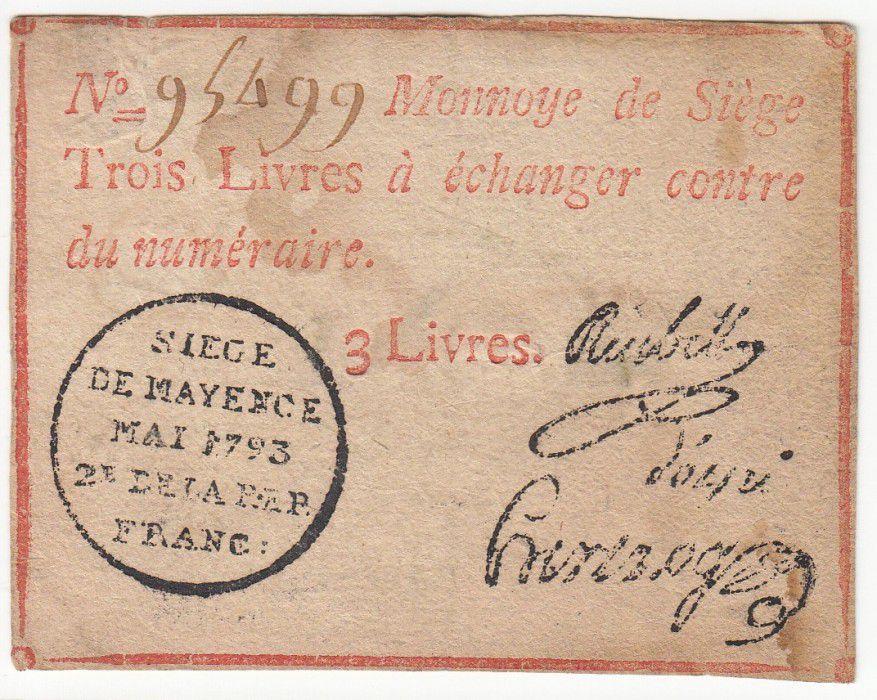 Mayence 3 Livres Rouge - Tampon noir - Mai 1793
