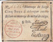 Mayence 5 Sols Black - red stamping - May 1793
