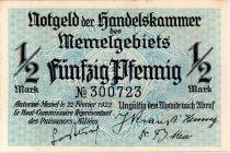 Memel 1/2 Mark  Baie - 1922 n° 300723