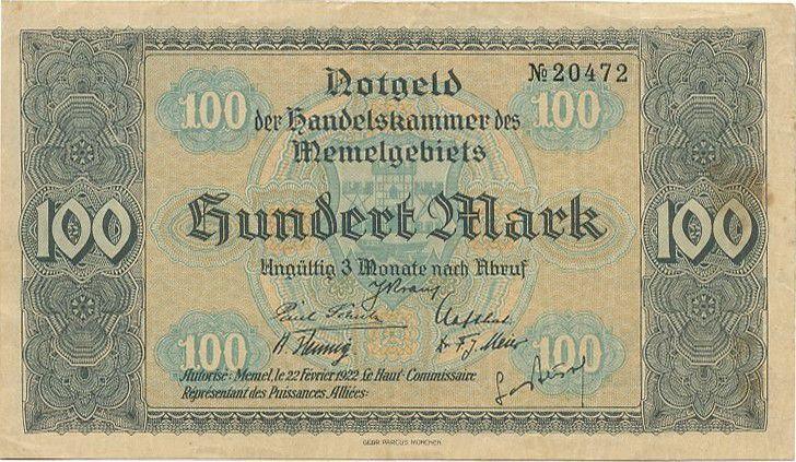 Memel 100 Mark Vue de Memel - 1922