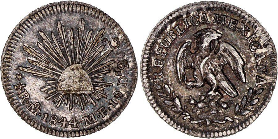 Mexico 1/2 Real National Emblem  - 1844 MO MF Mexico
