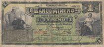 Mexico 1 Peso El Banco Minero - 07-07-1914 - Serial E - S.162 - F