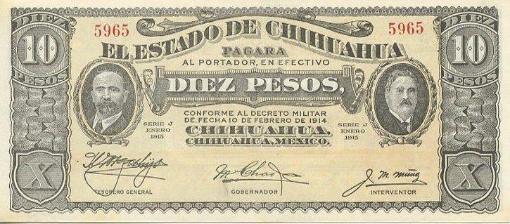 Mexico 10 Pesos F.I. Madero and A. Gonzalez - 1915