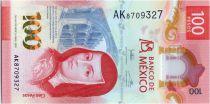 Mexico 100 Pesos, Juana de Asbaje - Butterfly - Polymer - 2021 - UNC