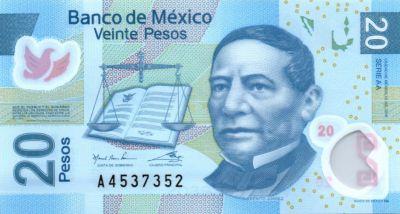 Banknote Mexico 20 Pesos - Benito Juarez - Aztec city..