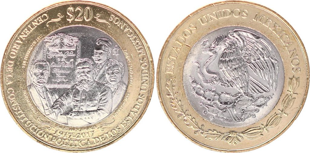 Mexico 20 Pesos - Bimetal - Constitution Centenary of 1917 - 2017