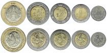 Mexiko Set of 5 coins - 50 centavos 1 to 10 Pesos 2018