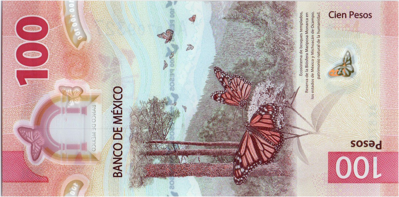 Mexique 100 Pesos, Juana de Asbaje - Paysage et Papillon - Polymer - 2021 - Neuf