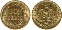 Mexique 2 Pesos Emblème national 1945 (Refrappe 1951-1972) - Or