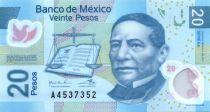 Mexique 20 Pesos - Benito Juarez - Cité Aztèque - 2016