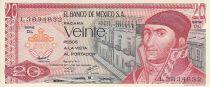 Mexique 20 Pesos - J. Morelos - Pyramide de Quetzalcoatl - 1977