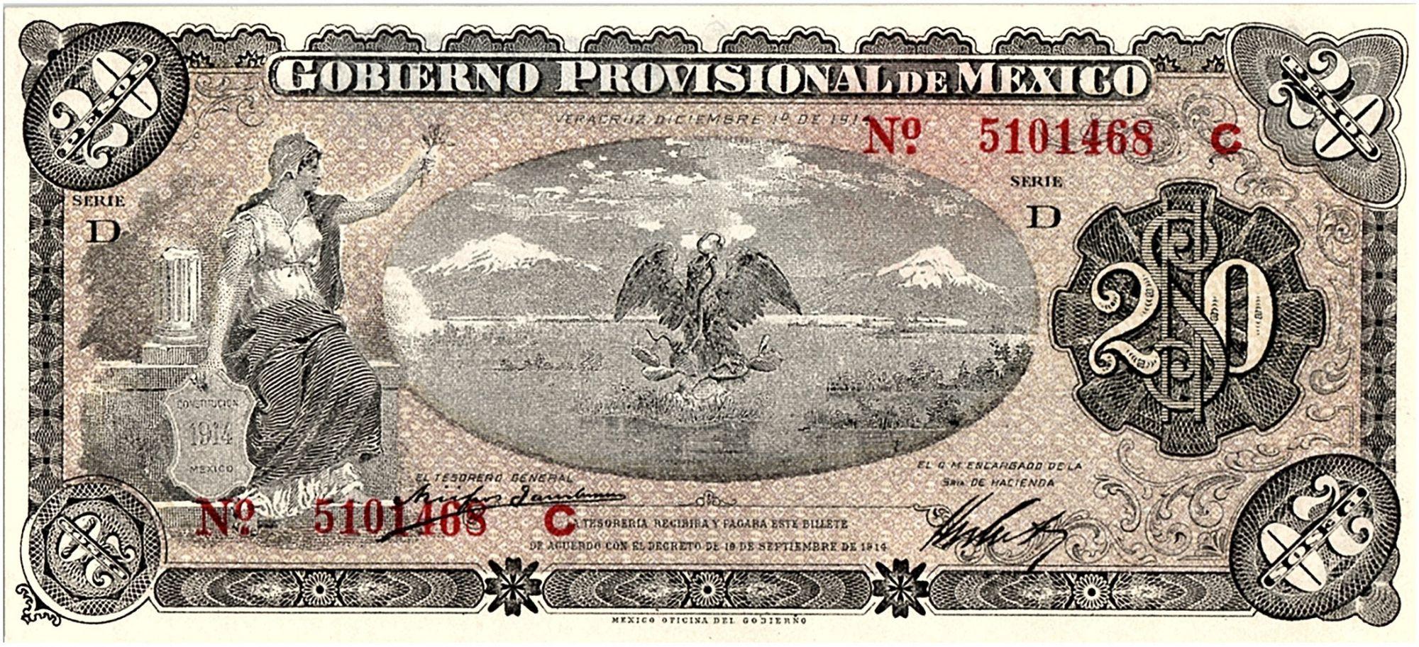 Mexique 20 Pesos Liberté - Volcan - Aigle et serpent - 01/12/1914