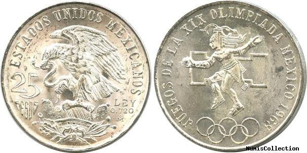 Mexique 25 Pesos Emblème national - JO Mexico 1968