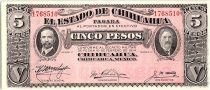 Mexique 5 Peso, Fransisco Madero - A gonzalez - 1914
