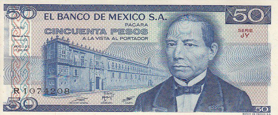 Mexique 50 Pesos - Benito Juarez - Urne Zapotèque - 1981