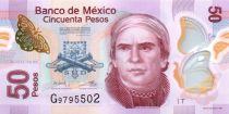 Mexique 50 Pesos - Jose María Morelos - Aqueduc de Morelia - Polymer - 2015