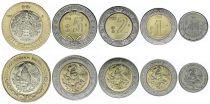 Mexique Série 5 monnaies 50 centavos - 1 à 10 Pesos 2018 - dont 4 bi-métal