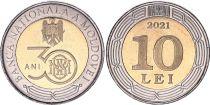 Moldava 10 Lei - 30 years of National Bank  - Bimetal - 2021