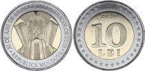 Moldava 10 Lei - 30 years of National Flag  - Bimetal
