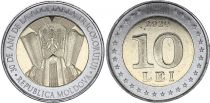 Moldava 10 Lei - 30 years of National Flag  - Bimetal